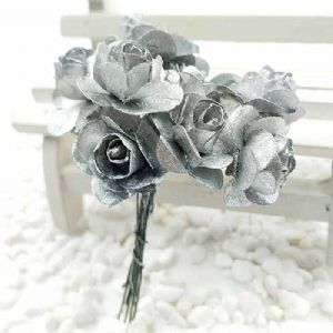 Rose, Paper, Silver colour, 1.5cm, 12 flowers, [DZH057]